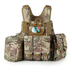 Pellor Gilet Tactique Militaire Airsoft Paintball Chasse Lourde Molle Veste de Protection Combat Police Armé Equipement CS RAS Taille Réglable (CP Camouflage)