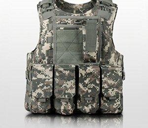 Anzer Gilet tactique militaire Molle avec 4 pochettes amovibles Porte plaque – équipement pour Chasse Airsoft Survie Aventure, camouflage