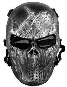 Queenshiny® Skull Airsoft Paintball Masque complet protection militaire Costume Halloween (Argent)