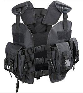 Gilet Tactique Combat MOLLE Tactique Airsoft Paintball Style Agent de Police Veste Tactique Noir