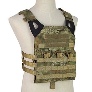 OUTRY Plaque Gilet, Molle Veste tactique – 2 Eva ballistic plaques inclus – Gilet militaire tactique pour pour airsoft Paintball CS (Mandragore(MA))