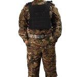 OUTRY Plaque Gilet, Molle Veste tactique – 2 Eva ballistic plaques inclus – Gilet militaire tactique pour pour airsoft Paintball CS (Noir)