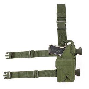 GES Tactique Pistolet Étui pour cuisses Réglables sacs de drop Pistol pour Les shooters droitiers (Vert)