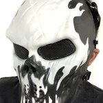 Masque de protection CS Masque de squelette crâne complet Airsoft Paintball de Airsoft noir blanc