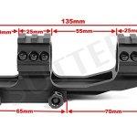 Rail de montage coudé solide 19-22mm – avec rails de 21mm – Diamètre: 30mm