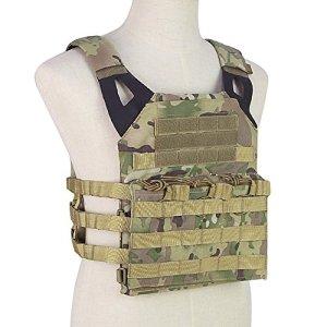OUTRY Plaque Gilet, Molle Veste tactique – 2 Eva ballistic plaques inclus – Gilet militaire tactique pour pour airsoft Paintball CS (CP)
