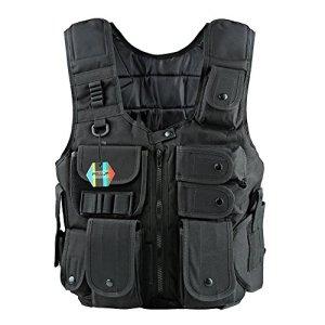 Pellor Gilet Tactique Militaire en Nylon Molle Veste de Protection pour Combat Armé CS Airsoft Paintball Adulte (M)