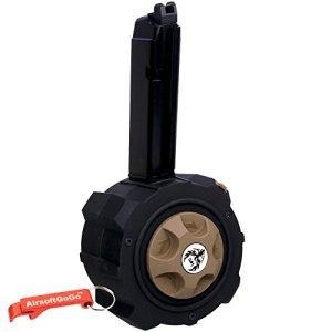 Métal Gaz Drum Chargeur pour Marui , HFC, WE, APS G17 / G18 / G22 / G26 / G34 Airsoft GBB (Noir) – Porte-clés Inclus