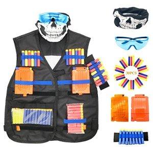 Gilet tactique pour Nerf Guns, Oxsaytee L'enfants N-Strike Elite Series, avec 30 Fléchettes, 2Pcs 6-Clips de rechargement, 1 Masque, 1 Bracelet pour les Mains et 1 Lunettes de Protection