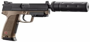 PACK H&K USP TACTICAL AEP TAN UMAREX SEMI ET FULL AUTO SYSTEME SHOOT UP AVEC SILENCIEUX FACTICE 0.5 JOULE + 5 CIBLES HUMAINE SPECIAL POLICE 50X70 Ref 26344+5CIBLES