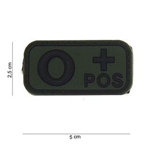 Patch 3D PVC Groupe Sanguin O+ Positif Noir / Cosplay / Airsoft / Camouflage