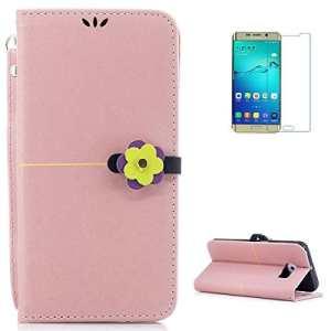 KaseHom Housse en cuir pour case for Samsung S6 Edge [Gratuit Protecteur d'écran] Fermoir fleur élégant [Card Wallet] Kickstand Flip Folio Livre de protection mince Holster-Or rose