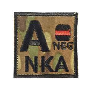 Multicam A NEG A- NKA Groupe Sanguin Embroidered Hook-and-Loop Écusson Patch