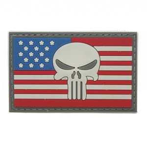 Cobra Tactical Solutions Punisher Tête de Mort PVC Tactique armée Badge Patch Drapeau US avec Crochet et Passant Airsoft