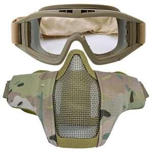 Kapmore Masque de Airsoft Strike Acier Demi Visage Masque équipement de Protection Extérieure (Goggle + Mask(Camouflage2))