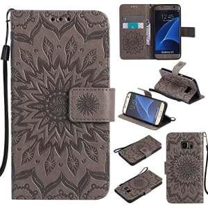 Coque Galaxy S7, Housse Rabat avec Fentes de Cartes Fermeture pour Samsung Galaxy S7 (2)