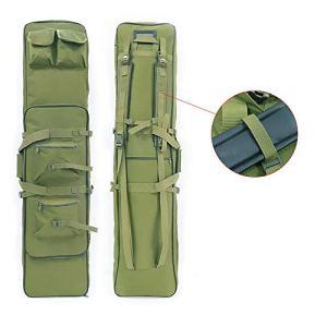 LUVODI Housse de Transport pour Fusil à Air/Fusil de Chasse Rembourée Sac Tactical Double Rifle 90 cm Mallettes pour Arme Longue Protection de Réplique Airsoft – Vert
