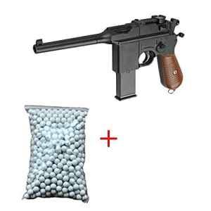 Galaxy Pack Cadeau Airsoft Pistolet Mauser C96/M712 Schnellfeuer WWII 0.5 Joule 6mm à Ressort Avec 600 billes Offert ! – G12