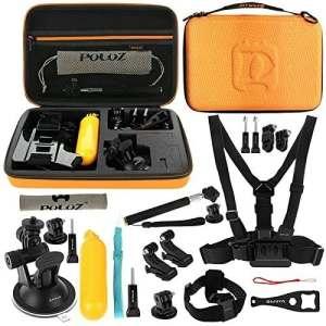 puluz Accessoires 20en 1Combo Kit avec Orange Housse en EVA pour gorpo HERO4Session/4/3+/3/2/1