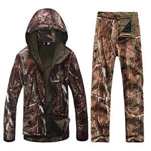 JIANPING Vêtements de Camouflage imperméable et Respirant Anti-adhérent Herbe Douce épaisse Veste Anti-Rayures cachée Costume de Chasse en Plein air Hiver Froid Camouflage (Size : XXXL)