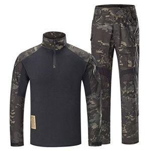 SGOYH Combinaison Uniforme de Costume de Camouflage Chasse Paintball Tir BDU Tactical Airsoft Chemises et Pantalons (S,Noir-CP)