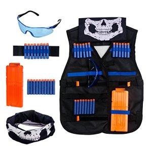 Krisvie Gilet Tactique des Enfants, Vest Jacket Kit de Gilet Tactique de Camouflage de Jungle d'enfants pour Le Pistolet de Jouet de Nerf N-Strike Série d'élite de Bataill (Noir)