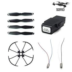Lame de Vent/Palette + Anneau de Protection/Cercle de Protection + Moteur 3.7v + Batterie 3.7V 1100mA pour Accessoires quadricoptères Sg900 – Noir