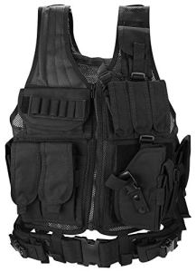 ProCase Gilet Tactique Militaire Mesh, Veste de Combat avec Ceinture pour Airsoft Jeu CS Militaire-Noir