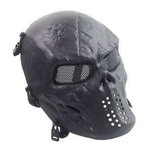 Sensong Masque Airsoft Protection Paintball Masque de Squelette Crâne Complet Tactique CS Jeu Halloween Décoration Cosplay Noir