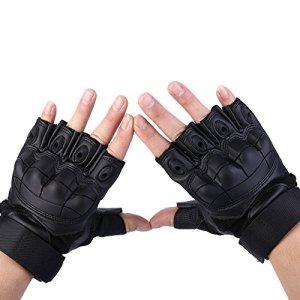 codomoxo® Gants Tactiques de l'armée Militaire des Forces Spéciales en Plein Air Demi-Doigt Unisexe de Mi Saison 1/2 Feu Finger Gym Combat résistant aux Coupures Gants de Fitness en Cuir (Noir, XL)