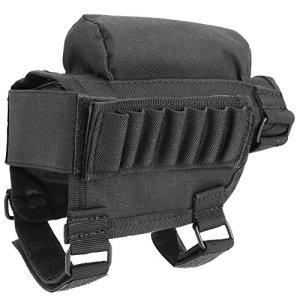 Fusil Buttstock Manches Elastique de Fusil Porte Cartouche Munition Poche Cheek Rest Etui Support Pochette Réglable(Noir)
