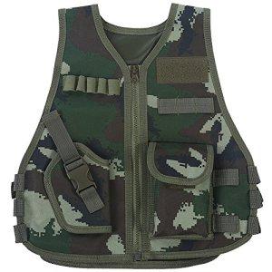 Gilet Tactique Enfant Veste Camouflage de Combat Gilet de Protection Entraînement Elite Nerf Jeux CS Multipoches(L-Jungle Camouflage)