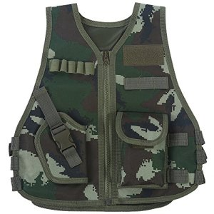 Gilet Tactique Enfant Veste Camouflage de Combat Gilet de Protection Entraînement Elite Nerf Jeux CS Multipoches(S-Jungle Camouflage)