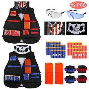 Gilet Tactique pour Enfant, joylink 92 Pcs Veste Gilet Kit pour pistolets Nerf avec 2 pinces de rechargement, 4 bandes de poignet, 2 lunettes de protection, 2 masques de masque, 80 fléchettes