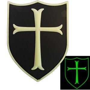 Glow Dark Templar Crusader's Cross US Marine Navy Seals Morale PVC 3D Gomme GITD Touch Fastener Écusson Patch