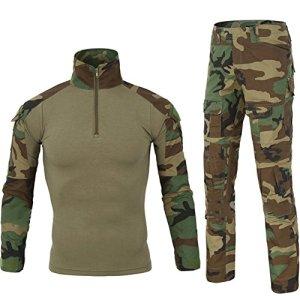 LANBAOSI Chemise de Combat Militaire Homme Uniforme Tactique Séchage Rapide à Manches Longues & Pantalon Costume Tenues de Combat Pantalon Militaire Paintball Vert x-Large