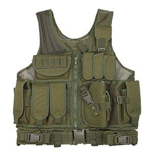 MOLLE Veste de chasse en plein air Tactique Militaire Armée Combat Airsoft Wargame Armure Vêtements Gilet avec des pochettes (Vert(Green))