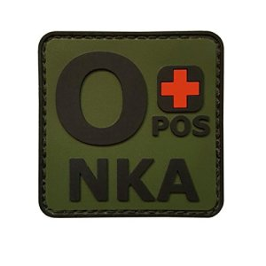 Olive Drab OPOS O+ NKA OD Groupe Sanguin No Known Allergies Morale PVC Gomme Fastener Écusson Patch