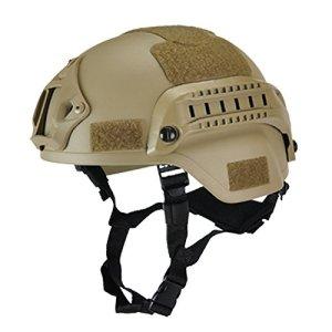 Wellouis Casque Tactique Militaire, Casques de Protection de tête de Paintball Gear Airsoft avec Support de caméra de Vision Nocturne