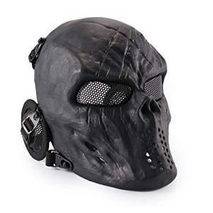 Wwman Masque de protection pour airsoft/paintball en forme de crâne, noir