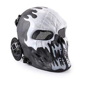 Wwman Masque de protection pour airsoft/paintball en forme de crâne, Rouge feu