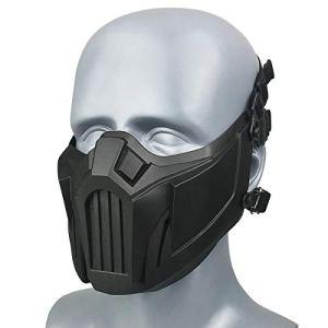 Wwman Tactique Demi Visage Masque Crâne Masque Masque Masque pour Airsoft Paintball CS Colpay Halloween (Black)