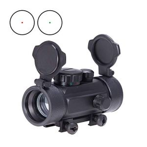 Z ZELUS Lunette de Visée pour Fusil à Réflexes de 20mm avec Point Rouge et Vert avec Capuchons Rabattables, Airsoft Viseur Tactique pour la Chasse