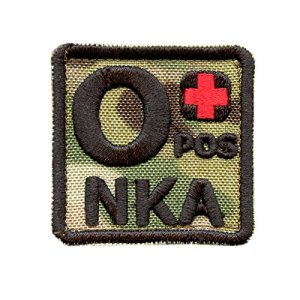Multicam O POS O+ NKA Groupe Sanguin OD Embroidered Touch Fastener Écusson Patch