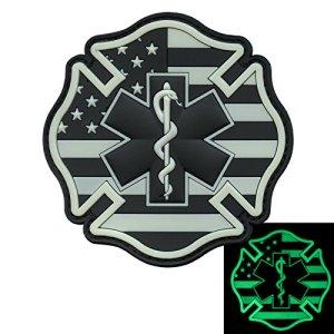2AFTER1 Glow Dark EMS EMT Fire Fighter Department USA American Flag Rescue Firemen Paramedic Medic Morale PV