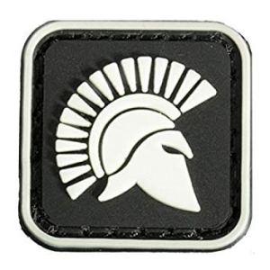 Bloomerang carré 2.5x 2.5cm Mini Rhodes Labe King of Sparta Glow Tactical armée PVC Patch Brassard Noir One Piece