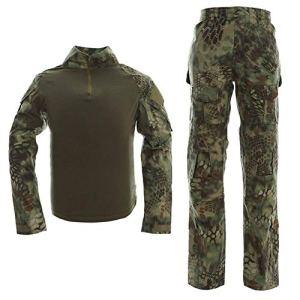 Hommes Tactique Costume Combat Shirt et Pantalon Ensemble Manches Longues Ripstop Multicam Airsoft Vêtements Woodland BDU Chasse uniforme Militaire – Vert – M