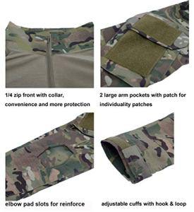 LANBAOSI Pull et Pantalon Tactique de Combat pour Homme à Manches Longues. Tenue de Combat avec Camouflage Woodland, Uniforme de Chasse Militaire avec 1/4 Zip,M / Tag L,Lcp