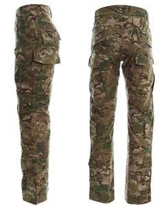LANBAOSI Pull et Pantalon Tactique de Combat pour Homme à Manches Longues. Tenue de Combat avec Camouflage Woodland, Uniforme de Chasse Militaire avec 1/4 Zip,L / Tag XL,Lcp