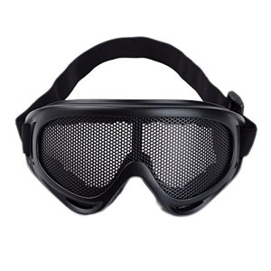 Sijueam® Masque Grillagé Airsoft Lunettes de Tir Anti-buée métal Protection des Yeux pour CS Pistolet Guerre Jeux Bataille Paintball Chasse Cyclisme – Noir